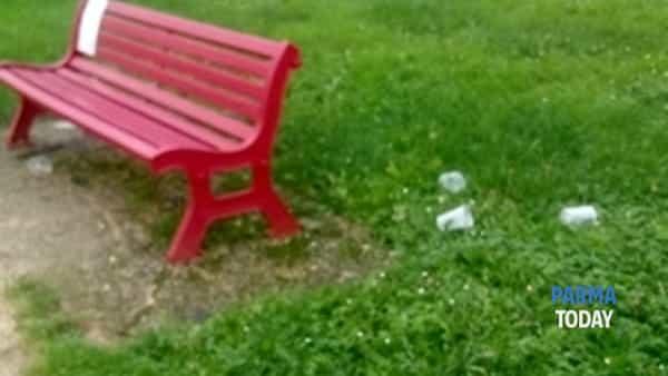 colorno. festino con alcool e fumo sulla panchina rossa.-3