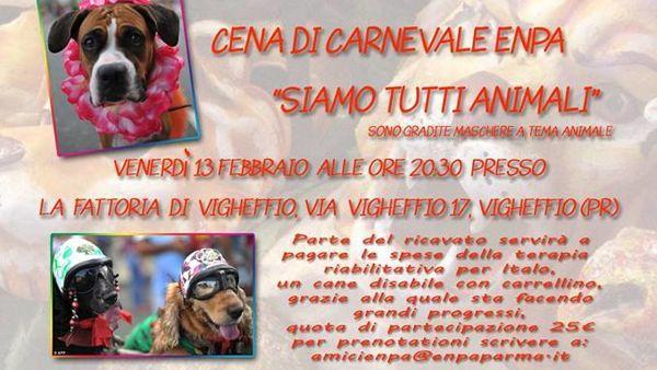 """Cena di Carnevale """"Siamo tutti animali"""": insieme per Italo"""