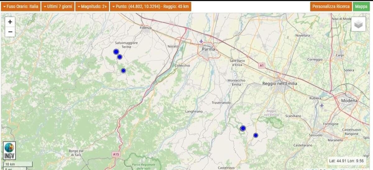 Terremoto: due scosse a Salsomaggiore in serata